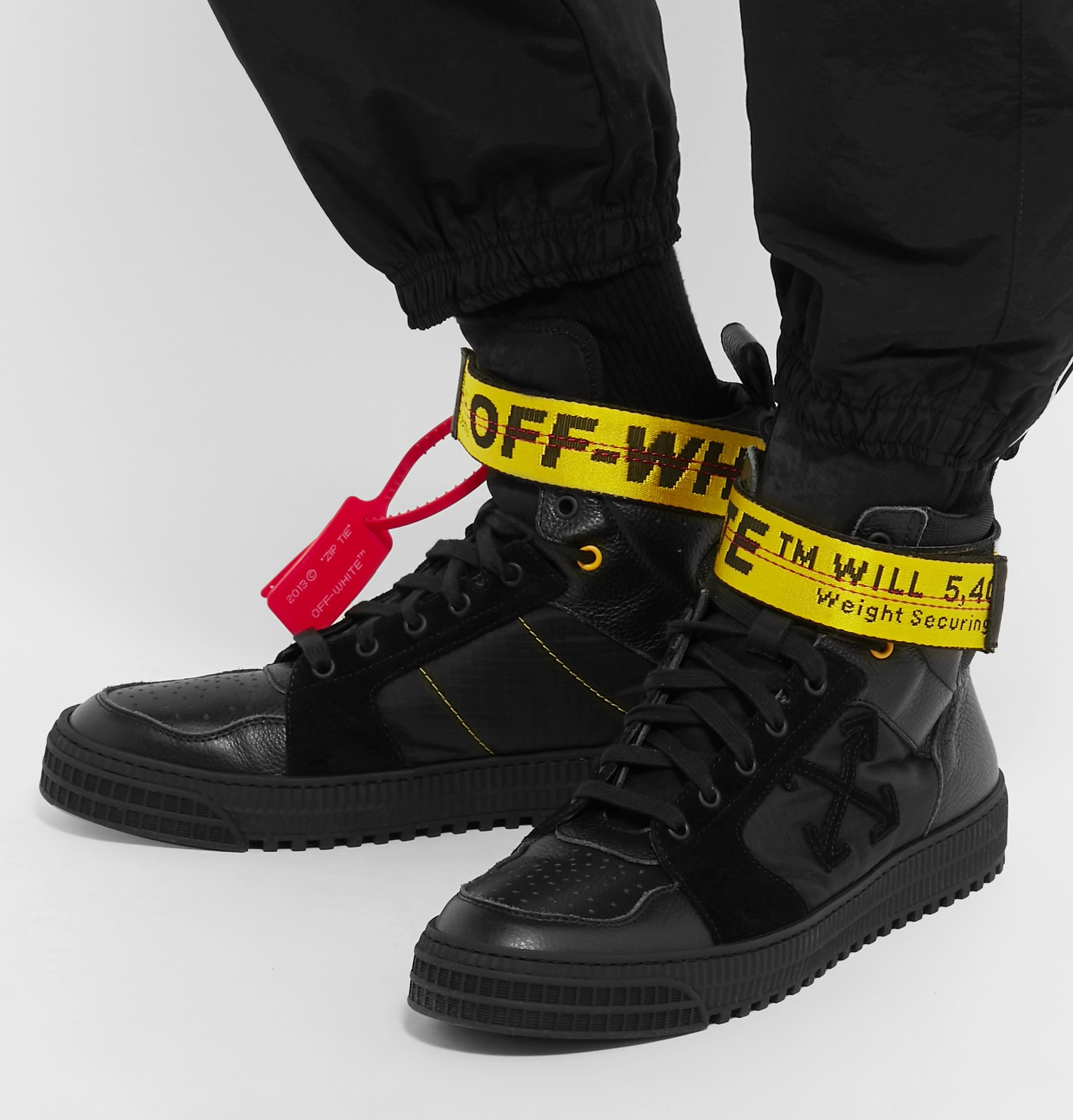 9d3068032 Off-WhiteIndustrial Full-Grain Leather, Suede and Ripstop High-Top Sneakers