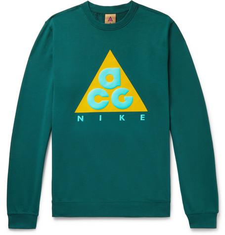 sale retailer 93a97 284d9 Nike Acg Nsw Logo-Print Loopback Cotton-Jersey Sweatshirt In Emerald