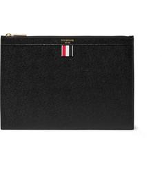 톰 브라운 Thom Browne Small Pebble-Grain Leather Pouch,Black