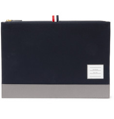 c3089acaa512c1 Thom Browne Pebble-Grain Leather-Trimmed Cotton-Twill Pouch