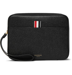Thom Browne Striped Grosgrain-Trimmed Pebble-Grain Leather Pouch