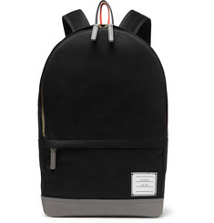 Thom Browne Grosgrain-Trimmed Cotton-Twill and Leather Backpack