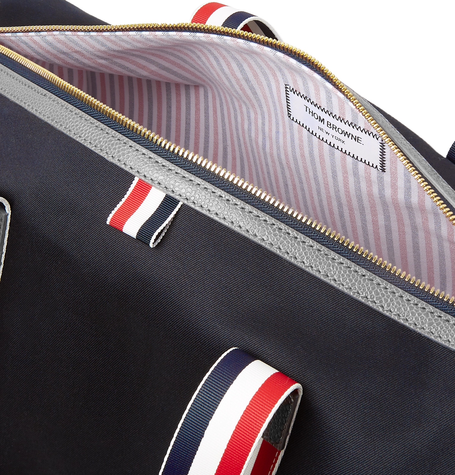 Thom Browne - Full-Grain Leather and Webbing-Trimmed Twill Duffle Bag 33e0c53356bb6