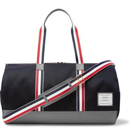 Thom Browne Full-Grain Leather and Webbing-Trimmed Twill Duffle Bag a485aecaed9c8
