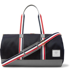 Thom Browne Full-Grain Leather and Webbing-Trimmed Twill Duffle Bag