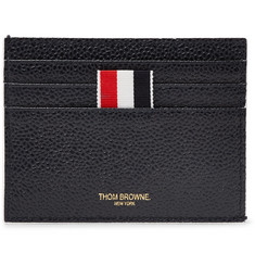 Thom Browne Grosgrain-Trimmed Pebble-Grain Leather Cardholder
