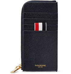 Thom Browne Grosgrain-Trimmed Pebble-Grain Leather Zip-Around Wallet