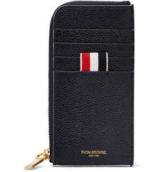 톰 브라운 Thom Browne Grosgrain-Trimmed Pebble-Grain Leather Zip-Around Wallet,Midnight blue