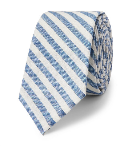 5cm Striped Wool, Mohair And Silk Blend Tie by Thom Browne