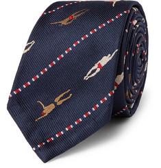 톰 브라운 Thom Browne 5cm Silk-Jacquard Tie,Navy