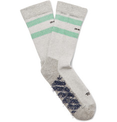 Off-White Logo-Intarsia Stretch Cotton-Blend Socks