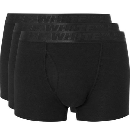 Off-White – Three-pack Stretch-cotton Boxer Briefs – Black