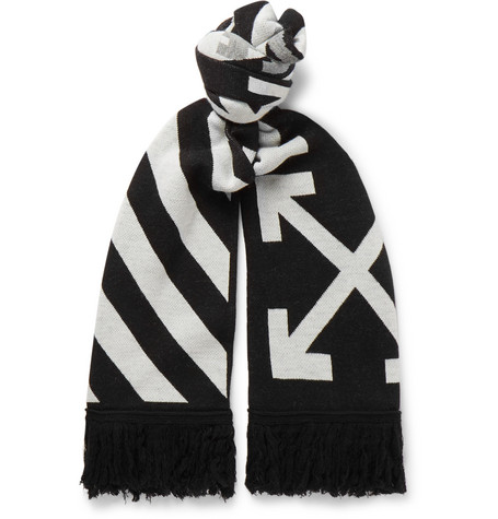 Off-White – Logo-intarsia Fringed Wool Scarf – Black
