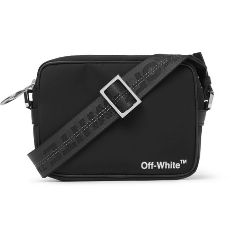 Off-White – Leather-trimmed Logo-print Shell Camera Bag – Black