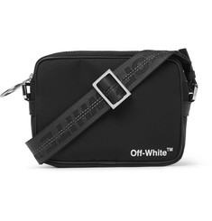 Off-White - Leather-Trimmed Logo-Print Shell Camera Bag