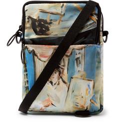 Printed Shell Messenger Bag - Blue