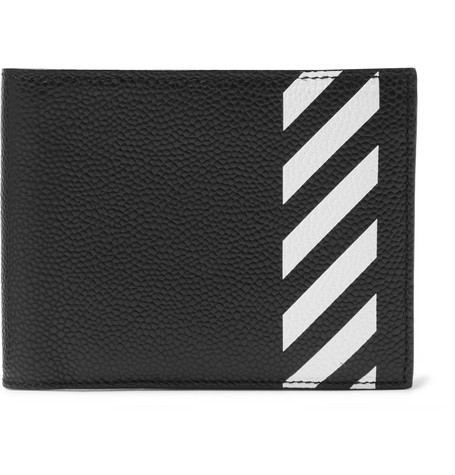 Striped Pebble Grain Leather Billfold Wallet by Off White