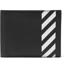 Off-White Striped Pebble-Grain Leather Billfold Wallet