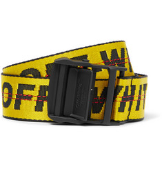 Off-White - 3.5cm Yellow Industrial Logo-Jacquard Webbing Belt