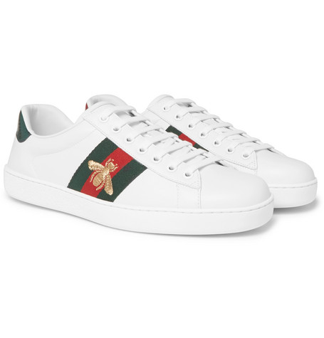 Ace Watersnake-trimmed Embroidered Leather Sneakers Gucci OdxC9LSXv8