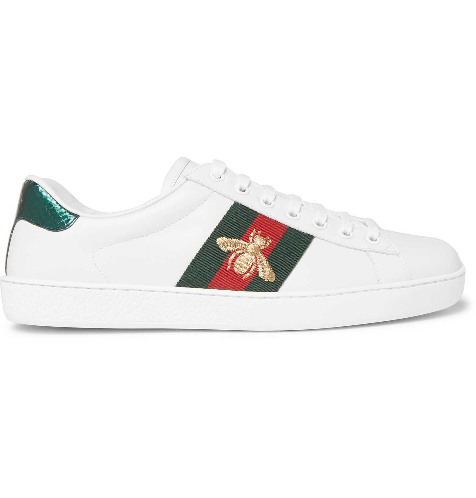 ccb7b437854 Gucci - Ace Watersnake-Trimmed Embroidered Leather Sneakers