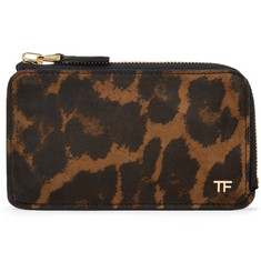 TOM FORD - Leopard-Print Nubuck Zip-Around Cardholder