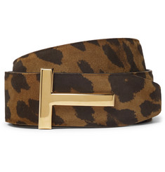 TOM FORD 4cm Reversible Leopard-Print Nubuck Belt