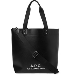 A.P.C. Eddy Logo-Print Faux Leather Tote Bag