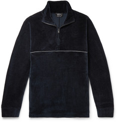 A.P.C. Bike Ribbed Cotton-Velvet Half-Zip Sweatshirt