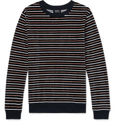 A.P.C. Striped Cotton-Blend Velour Sweatshirt
