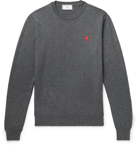 AMI | AMI - Logo-embroidered Wool Sweater - Gray | Goxip