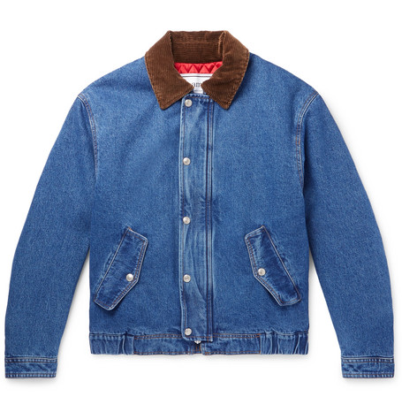 Corduroy Trimmed Denim Jacket by Ami