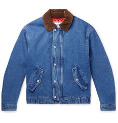 Corduroy-trimmed Denim Jacket - Blue