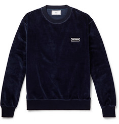 AMI Logo-Appliquéd Cotton-Blend Velour Sweatshirt
