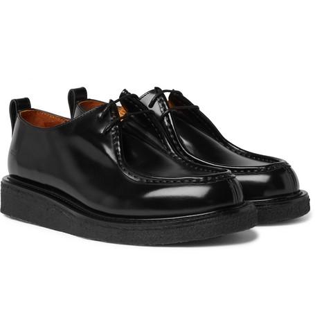 Polished-leather Derby Shoes - Black