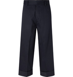 Alexander McQueen Navy Wide-Leg Cotton-Gabardine Trousers