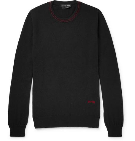 ALEXANDER MCQUEEN | Alexander McQueen - Logo-embroidered Cashmere Sweater - Black | Goxip