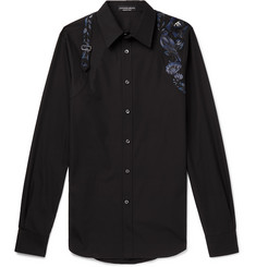 Alexander McQueen Slim-Fit Harness-Detailed Embroidered Cotton-Poplin Shirt