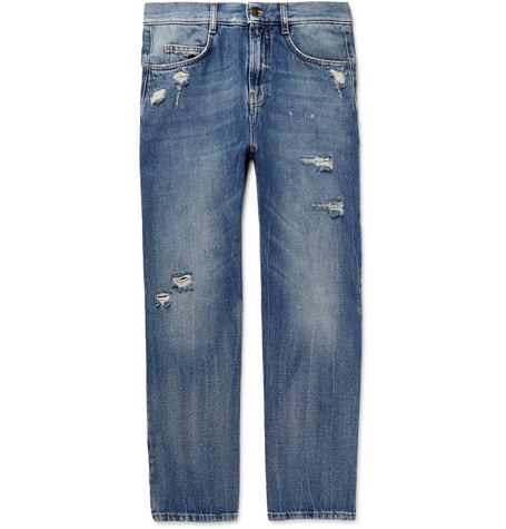 MCQ ALEXANDER MCQUEEN | McQ Alexander McQueen - Skinny-fit Distressed Denim Jeans - Indigo | Goxip