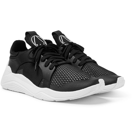 McQ Alexander McQueen – Gishiki Leather-trimmed Mesh Sneakers – Black. All  Footwear c97d1290ad9