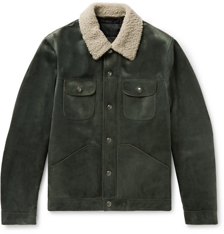 Shearling Trimmed Suede Down Trucker Jacket by Tom Ford