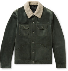 TOM FORD Shearling-Trimmed Suede Down Trucker Jacket