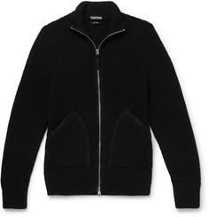 TOM FORD Suede-Trimmed Ribbed Cashmere Zip-Up Cardigan