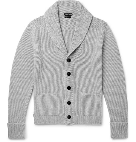 TOM FORD | TOM FORD - Steve Mcqueen Shawl-collar Ribbed Cashmere Cardigan - Gray | Goxip