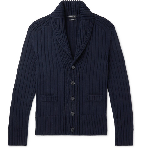 TOM FORD | TOM FORD - Steve Mcqueen Shawl-collar Ribbed Merino Wool Cardigan - Navy | Goxip