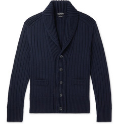TOM FORD Steve McQueen Shawl-Collar Ribbed Merino Wool Cardigan