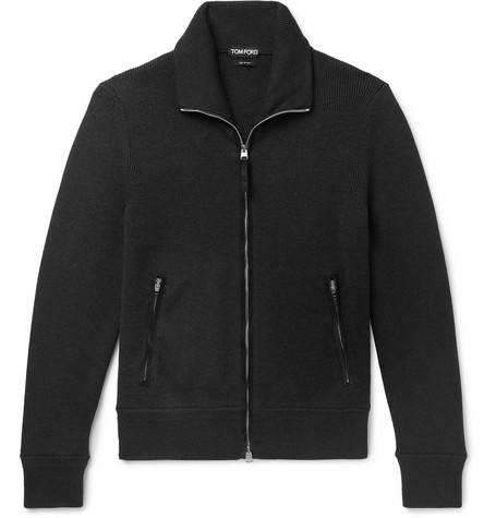 TOM FORD | TOM FORD - Suede-trimmed Ribbed Wool Zip-up Cardigan - Black | Goxip