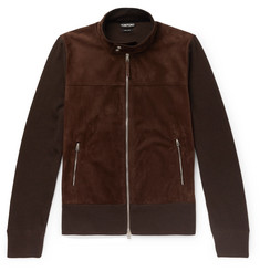 TOM FORD Slim-Fit Panelled Suede and Wool Zip-Up Cardigan
