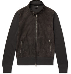 TOM FORD Slim-Fit Suede-Panelled Wool Zip-Up Cardigan