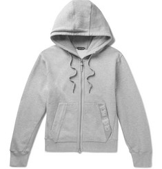 TOM FORD Oversized Logo-Trimmed Mélange Fleece-Back Cotton-Jersey Zip-Up Hoodie